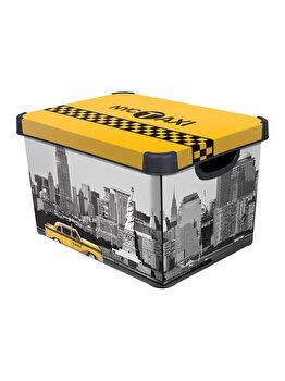Cutie depozitare L multifunctionala cu capac CURVER, 22 L, 39.5 x 25 x 29.5 cm, plastic, DECO STOCKHOLM model NEW YORK, Galben