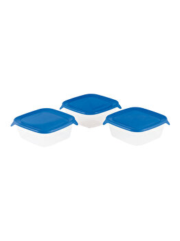 Set 3 cutii alimente FRESH&GO CURVER, 0.80 L, 15.5 x 15.5 x 11 cm, plastic, Albastru imagine