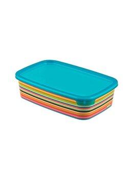 Cutie alimente, DECO CHEF, CURVER, 1 L, 22.5 x 6 x 14.8 cm, dreptunghiulara, plastic, decor STRIPES, Multicolor