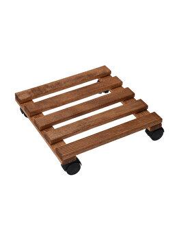Suport din lemn pentru ghiveci, Koopman Int, cu roti, 30 x 30 x 8 cm imagine