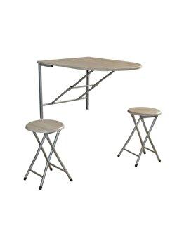 Set masa cu doua scaune Napoli stejar alb, UnicSpot, 84 x 60 cm, MDF, Alb imagine