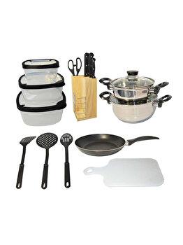 Starter set bucatarie Excellent Houseware, 17 piese, 170294970, 39 x 16.5 x 41.5 cm, nylon, Negru imagine