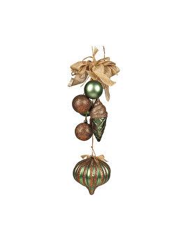 Decoratiune Craciun cu globuri Holly, 36 cm, verde-auriu imagine 2021