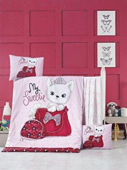 Set lenjerie de pat pentru copii, Victoria, bumbac ranforce, 100 x 150 cm, 121VCT2040, Multicolor imagine