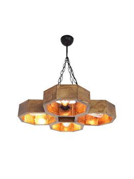 Candelabru All Design Hepsi Petek Avize - 1, culoare lemn nuc elefant