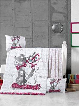 Set lenjerie de pat pentru copii, Victoria, bumbac ranforce, 100 x 150 cm, 121VCT2037, Alb imagine