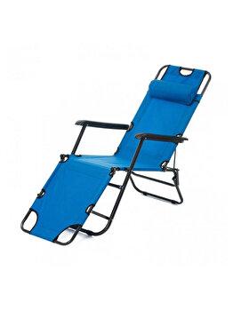 Sezlong pliabil cu tetiera, Heinner, 178 x 60 x 79 cm, LFSZA004, otel/textil, Albastru
