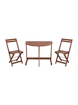 Set mobilier pentru balcon din 3 piese Koopman Int., 2 scaune si o masa, culoare natur imagine