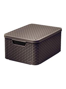 Cutie depozitare M cu capac si manere STYLE CURVER, 18 L, 39.7 x 18.7 x 29 cm, plastic, model tip rattan, Maro imagine