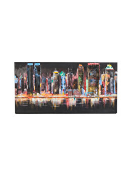 Tablou pictat manual Mendola Art, Night lights, 218-EOPS287, 70 x 140 cm imagine