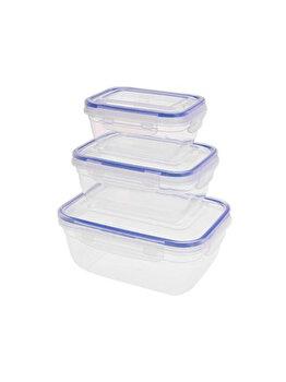 Set 3 caserole Excellent Houseware, 024000050, 400-1400 ml, 20 x 14.5 x 8 cm, plastic, Incolor imagine