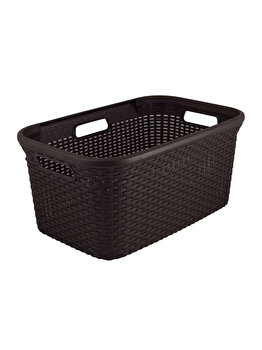 Cos depozitare multifunctional CURVER, model RATTAN, plastic, 45 L, 59.2 x 27 x 38 cm, Maro imagine
