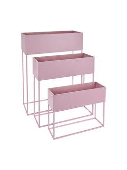 Suport metalic pentru flori cu 3 compartimente, Koopman Int., roz imagine