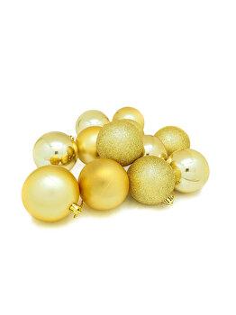 Set 12 globuri Holly, 6 cm, auriu imagine 2021