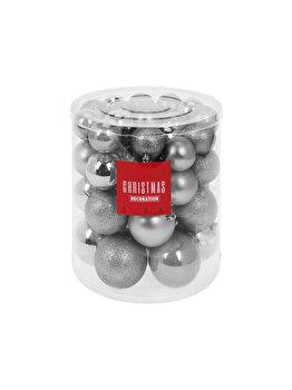 Set 44 globuri Koopman Int., 8 cm, plastic, Argintiu imagine