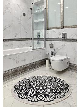 Covor de baie, Chilai Home, 100 cm, 359CHL4140, acrilic, Alb/Negru imagine