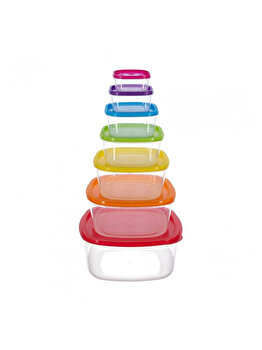Set 7 caserole patrate cu capac, Vanora Home, Joy, 4500 ml, Multicolor