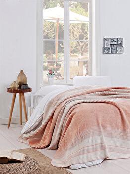 Patura pentru pat single, EnLora Home, acril/bumbac/poliester, 150 x 220 cm, 162ELR9271, Multicolor imagine