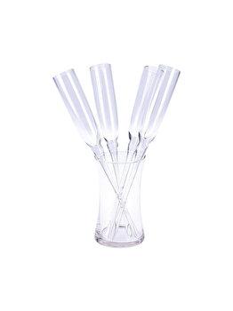 Set Excellent Houseware 4 pahare sampanie fara picior si 1 vas suport, DP2011310, 22 x 11.5 x 34 cm, sticla, Incolor