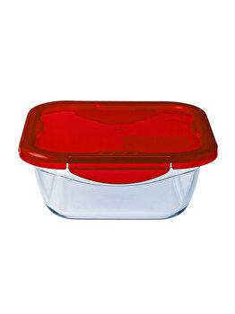 Recipient patrat cu capac de plastic 0.8 L, Ocuisine, 40414, sticla termorezistenta, Rosu imagine