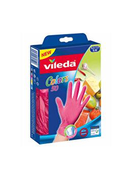 Manusi de unica folosinta Colors Vileda, marimea S/M, 50 bucati, Roz