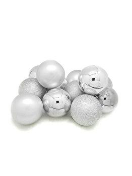 Set 12 globuri Holly, 6 cm, argintiu imagine 2021