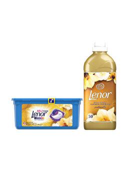 Pachet Promo: Detergent capsule Lenor All in One PODs Gold Orchid 28 spalari + Balsam Lenor Gold Orchid 50 Spalari imagine