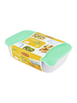 Set 3 cutii alimente FRESH&GO CURVER, 0.5 L + 1 L + 2 L, 26 x 7.4 x 17 cm, plastic, Verde imagine