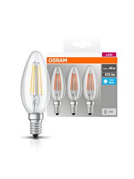 Set 3 becuri Led Osram, E14, , 4W, 470 lumeni, lumina neutra elefant