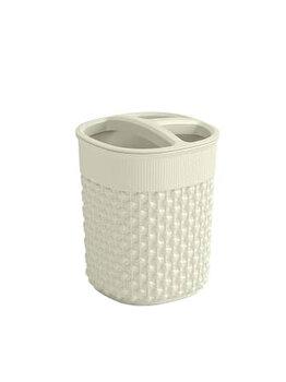 Pahar periuta de dinti model FILO CURVER, 9 x 9 x 12 cm, plastic, Crem