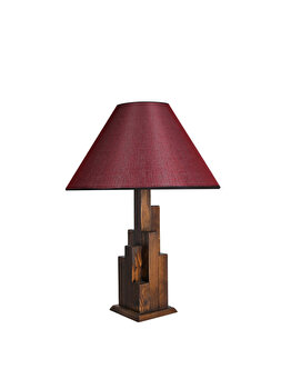 Veioza Luin 8301-2M, corp culoare lemn nuc, abajur rosu burgundy imagine