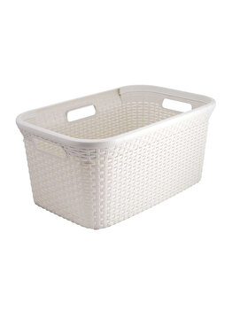 Cos depozitare multifunctional CURVER, model RATTAN, plastic, 45 L, 59.2 x 27 x 38 cm, Alb imagine