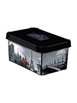 Cutie depozitare S multifunctionala cu capac CURVER, 7 L, DECO STOCKHOLM model PARIS, 29.5 x 13.5 x 19.5 cm, plastic, Negru imagine
