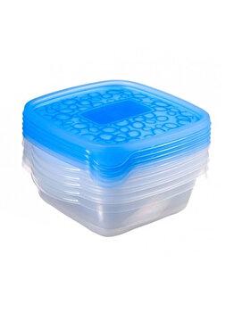 Set 5 cutii alimente TAKE AWAY, CURVER, 5 x 0.6 L, 17.5 x 10.5 x 16 cm, forma patrata, plastic, Albastru