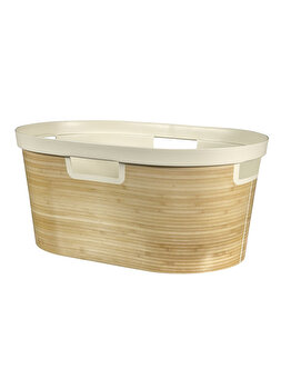 "Cos depozitare rufe multifunctional CURVER, model INFINITY decor ""Bamboo"", plastic, 40 L, 60.2 x 43.7 x 35.1 cm, Crem imagine"