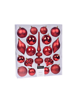 Set 19 globuri Koopman Int., 13 cm, plastic, Rosu imagine 2021