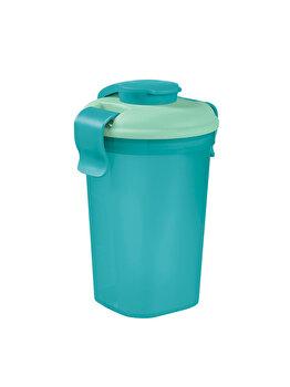 Sticla L cu capac LUNCH & GO, CURVER, 0.6 L, 10.7 x 17 x 12 cm, plastic, Albastru