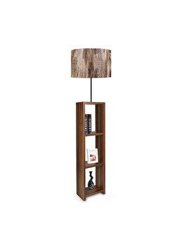 Lampadar Insignio AYD-1798, corp maro, abajur imprimeu lemn