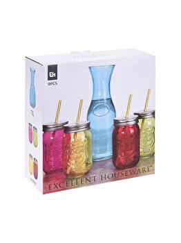 Set 9 piese pahare pentru bauturi racoritoare, Excellent Houseware, multicolor imagine