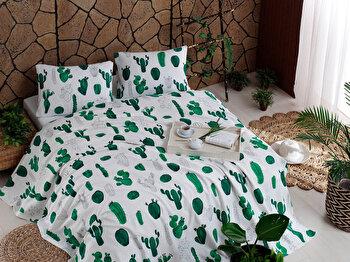 Cearceaf dublu, EnLora Home, bumbac, 200 x 235 cm, 162ELR9392, Verde/ALB