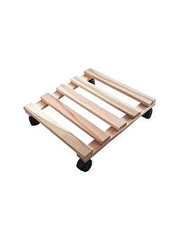 Suport din lemn pentru ghiveci, Kopman, cu roti, 30 x 30 x 8 cm imagine