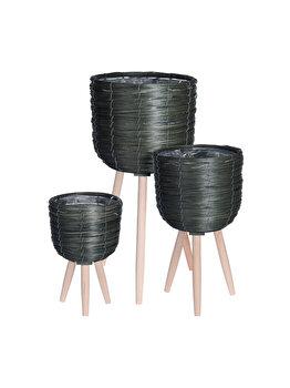 Set 3 ghivece cu picioare din lemn h & s collection, verde natur imagine