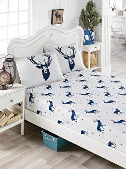 Set cearceaf de pat single, EnLora Home, bumbac, 100 x 200 cm, 162ELR9306, Albastru/Alb