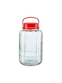 Borcan sticla cu capac din plastic Heinner, 8L, D20.5 x H 34.5 cm.