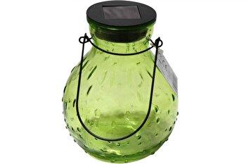 Lampa solara tip borcan OTHER, sticla, LED, 12 x 16 cm, Verde imagine