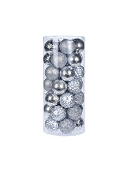 Set 35 globuri Koopman Int., 6 cm, plastic, Argintiu imagine 2021