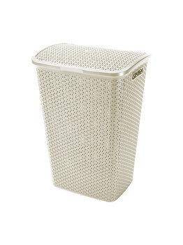 Cos depozitare rufe CURVER, Rattan My Style, plastic, 55 L, 42.8 x 60.4 x 33 cm, Alb imagine