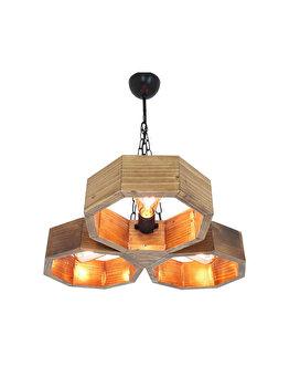 Candelabru All Design Hepsi Petek Avize - 2, culoare lemn nuc imagine