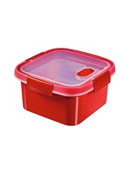 Cutie alimente MICRO-WAVE, CURVER, 1.1 L, pentru microunde folosire pentru gatit cu aburi, 16.2 x 8.8 x 16.2 cm, patrata, plastic, Rosu