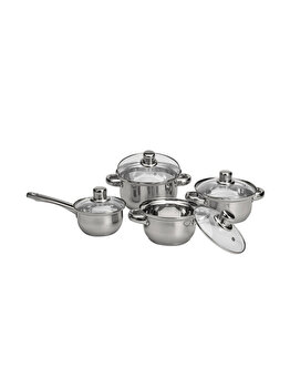 Set cratite Excellent Houseware, 8 piese, C80620850, 41 x 23.5 x 16.5 cm, otel inoxidabil, Gri imagine
